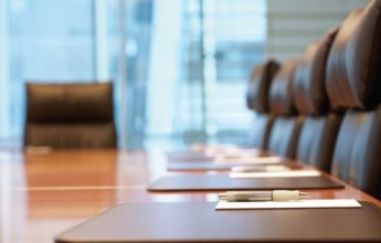 Closeup of an empty conference room before meeting.