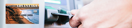 Image of how an EBT card looks like and a separate image of card being inserted into an ATM slot.